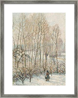 Morning Sunlight On The Snow Eragny Sur Epte Framed Print by Camille Pissarro
