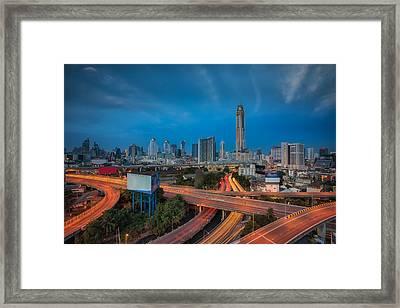 Morning Sunrise In Bangkok City Framed Print