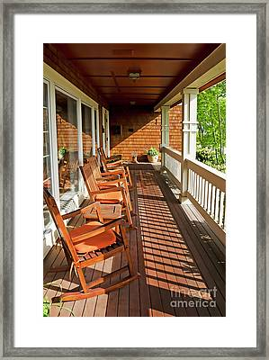Morning Sunshine On The Porch Framed Print by Maria Janicki