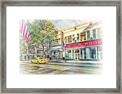 Morning Taxi Downtown Urban Scene Framed Print