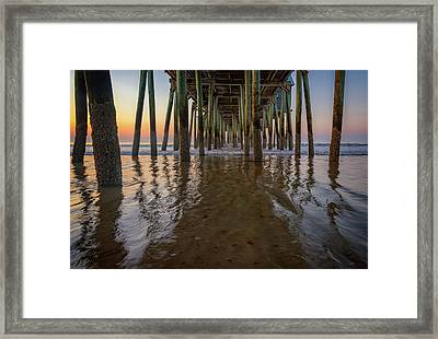Framed Print featuring the photograph Morning Under The Pier, Old Orchard Beach by Rick Berk