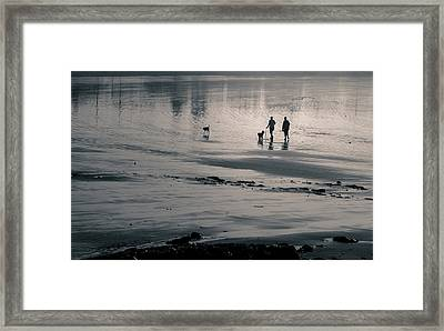 Morning Walk, Gooch's Beach, Kennebunk, Maine Framed Print