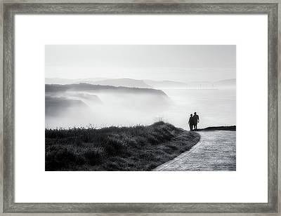 Morning Walk With Sea Mist Framed Print