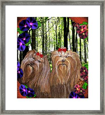 Framed Print featuring the digital art Morning Yorkies by Michelle Audas