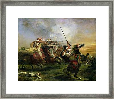 Moroccan Horsemen In Military Action Framed Print