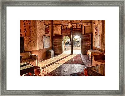 Framed Print featuring the tapestry - textile Moroccan Kasbah by Kathy Adams Clark
