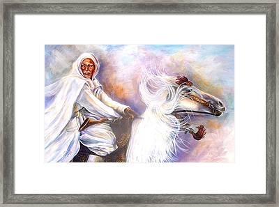 Moroccan Man Riding Arabian Stallion  Framed Print by Patricia Rachidi