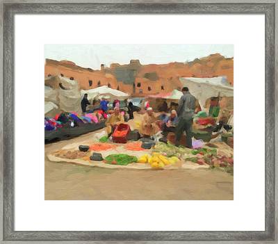 Moroccan Market Framed Print by Carrie Kouri