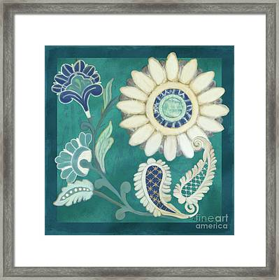 Framed Print featuring the painting Moroccan Paisley Peacock Blue 2 by Audrey Jeanne Roberts