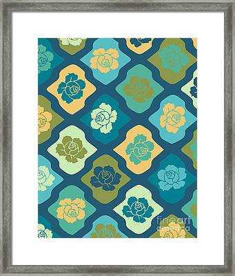 Moroccan Pattern With Rose Framed Print by Ramneek Narang