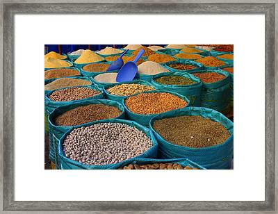Framed Print featuring the photograph Moroccan Spice Market by Ramona Johnston