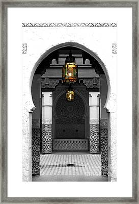 Moroccan Style Doorway Lamps Courtyard And Fountain Color Splash Black And White Framed Print by Shawn O'Brien