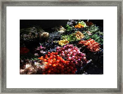 Framed Print featuring the photograph Moroccan Vegetable Market by Ramona Johnston