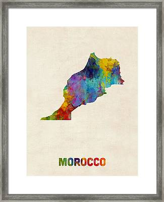 Morocco Watercolor Map Framed Print