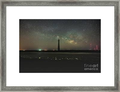 Morris Island Light House Milky Way Framed Print