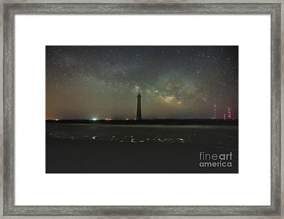 Morris Island Light House Milky Way Framed Print by Robert Loe