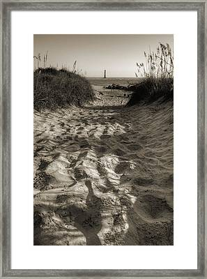 Morris Island Lighthouse Pathway Framed Print
