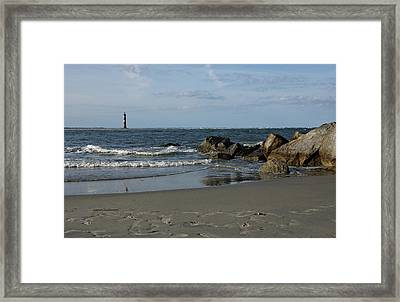 Framed Print featuring the photograph Morris Lighthouse by Sandy Keeton
