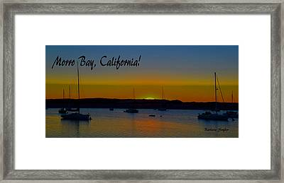 Morro Bay California Abstract Sunset Framed Print by Barbara Snyder