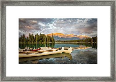 Jasper Lake Canoes Framed Print