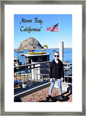 Morro Bay Cutie Pie On An Electric Skate Board Framed Print by Floyd Snyder