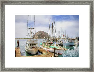 Framed Print featuring the photograph Morro Bay Rock And Marina by Donna Kennedy