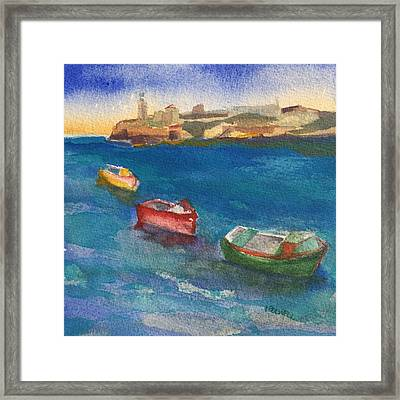 Morro Castle And Three Boats Framed Print