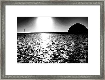Morro Rock, Black And White Framed Print