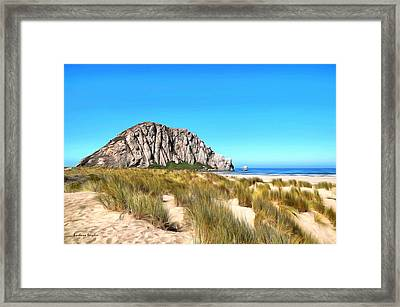 Morro Rock From The Dunes Framed Print by Barbara Snyder