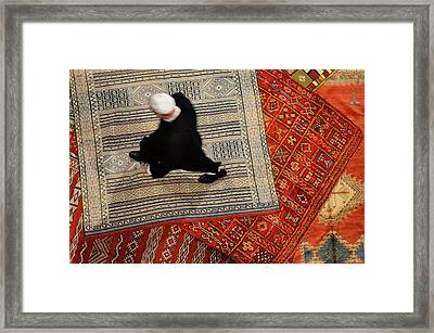 Morrocan Riad Owner Shopping For A New Persian Rug In Fes El Bal Framed Print by Reimar Gaertner