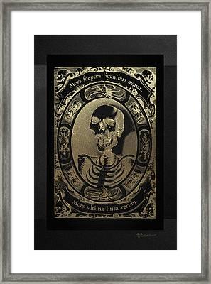 Mors Ultima Linea Rerum - Egbert Van Panderen Engraving In Gold On Black Framed Print by Serge Averbukh