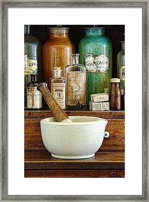 Mortar And Pestle Framed Print by Jill Battaglia