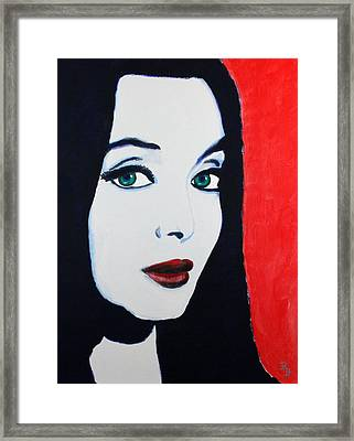 Framed Print featuring the painting Morticia Addams by Bob Baker