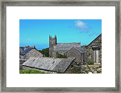 Morvah Church Through The Rooftops Framed Print by Terri Waters