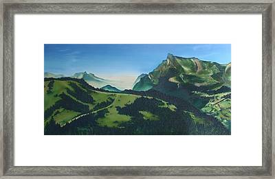Framed Print featuring the painting Morzine by Mira Cooke