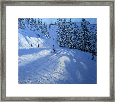 Morzine Ski Run Framed Print by Andrew Macara