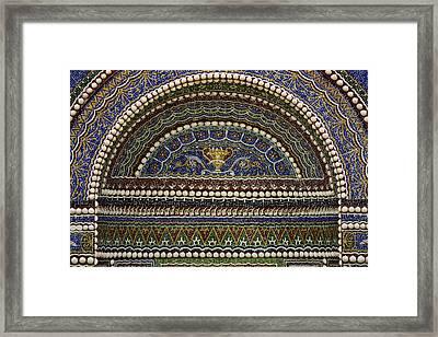 Mosaic And Shell Fountain Getty Villa Malibu California Framed Print