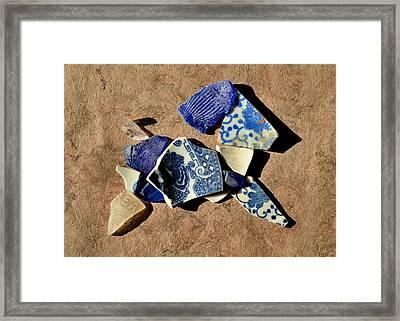 Mosaic Animals, Pottery Puppy Framed Print by Elizabeth Riggs