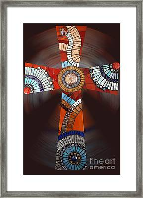 Mosaic Cross #2 Framed Print by Adriana Zoon