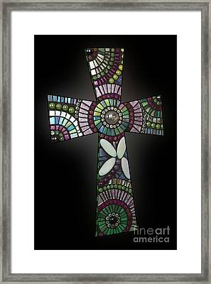 Mosaic Cross #1 Framed Print by Adriana Zoon