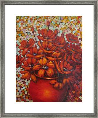 Mosaic Flowers Framed Print