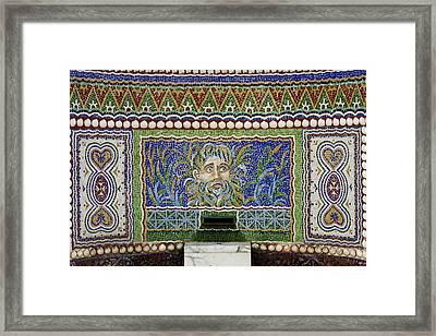 Mosaic Fountain At Getty Villa 3 Framed Print