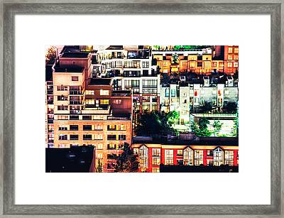 Mosaic Juxtaposition By Night Framed Print