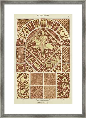 Mosaic Patterns From The Middle Ages Framed Print by German School