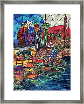 Framed Print featuring the painting Mosaic River by Patti Schermerhorn
