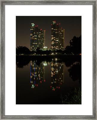Mosaic Towers Night Framed Print