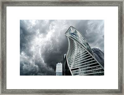 Moscow City And Storm Framed Print
