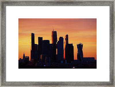 Moscow City In Sunset Framed Print by Jenny Rainbow
