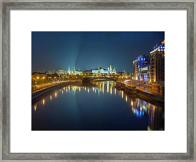 Moscow Kremlin At Night Framed Print by Alexey Kljatov