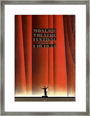 Moscow Theatre Festival 1935 - Russia - Retro Travel Poster - Vintage Poster Framed Print